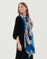 Jaeger - Mixed Blues Cutabout Print Scarf - Lyst