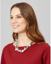Jaeger - Pearl Crystal Cluster Short Necklace - Lyst