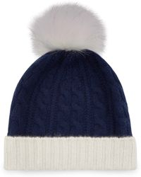 Jaeger - Cashmere Cable Knit Pom Pom Hat - Lyst