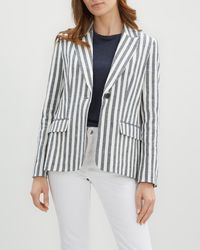 Jaeger - Relaxed Stripe Jacket - Lyst