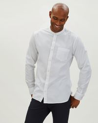 Jaeger - Washed Twill Collarless Shirt - Lyst
