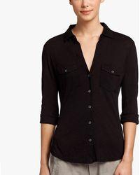 James Perse - Sheer Slub Side Panel Shirt - Lyst