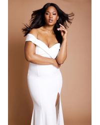 Jarlo Bella Bardot Maxi Dress With Thigh Split And Train - Blanco