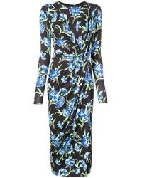 Jason Wu - Printed Jersey Long Sleeve Draped Dress - Lyst