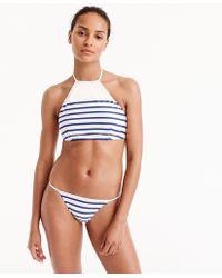 J.Crew - Cropped Halter Bikini Top In Nautical Stripe - Lyst