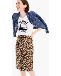 J.Crew - Collection Leopard Calf Hair Pencil Skirt - Lyst