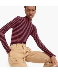 J.Crew - Ribbed Knit Turtleneck Bodysuit In Stripes - Lyst