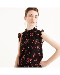 J.Crew - Petite Sleeveless Smocked Top In Falling Floral - Lyst