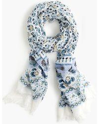 J.Crew - Lightweight Cotton Scarf In Calypso Block Print - Lyst