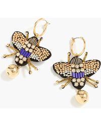 J.Crew - Leather-backed Beaded Beetle Earrings - Lyst