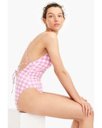 2c9b162f5b4eb Lyst - J.Crew D-cup Belted Underwire One-piece Swimsuit In Italian ...