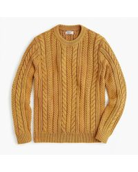 J.Crew - Wallace & Barnes Cable-knit Crewneck Sweater In Washed Cotton - Lyst
