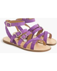 J.Crew - Strappy Buckled Sandals In Suede - Lyst