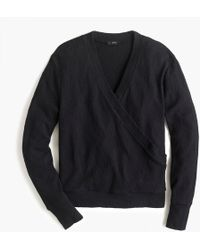 J.Crew - Faux-wrap Top In Textured Crepe - Lyst