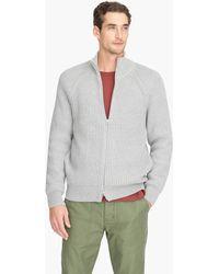 J.Crew - Knit Cotton Funnelneck Zip-up Sweater-jacket - Lyst