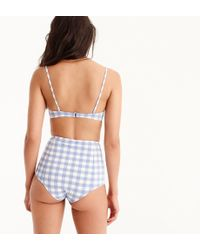 J.Crew - High-waisted Bikini Bottom In Oversized Matte Gingham - Lyst