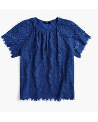 J.Crew - Tall Short-sleeve Lace Top - Lyst