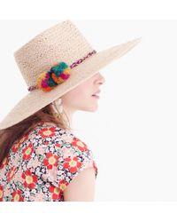 J.Crew - Straw Sun Hat With Pom-poms - Lyst