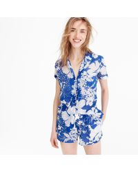 J.Crew - Short-sleeve Pajama Top In Blue Floral - Lyst
