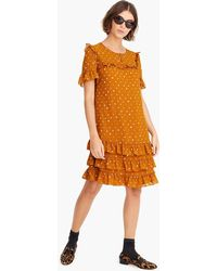 J.Crew - Point Sur Ruffle Dress In Printed Crinkle Chiffon - Lyst