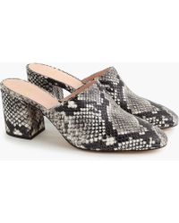 J.Crew - High Block-heel Mules In Faux Snakeskin - Lyst
