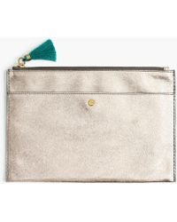 J.Crew - Large Pouch In Metallic Italian Leather - Lyst