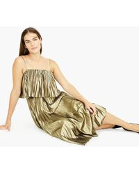 J.Crew - Collection Pleated Midi Dress In Gold Lamé - Lyst