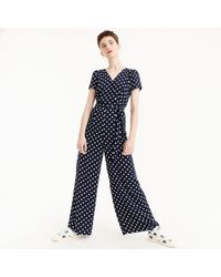 J.Crew - Short-sleeve Wrap Jumpsuit In Polka Dot - Lyst