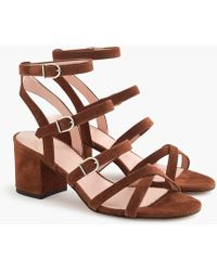J.Crew - Buckled Mid-heel Sandals In Suede - Lyst
