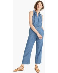 d8c2a5ecb8c Lyst - J.Crew Saron Cotton-chambray Jumpsuit in Blue