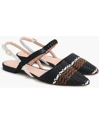 ddd8f4572 J.Crew - Pointed-toe Woven Flats With Ankle Strap - Lyst