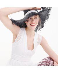 J.Crew - Wide Brim Straw Hat With Fringe - Lyst