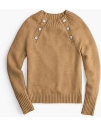 J.Crew - Crewneck Jumper With Jewelled Buttons - Lyst