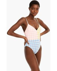 ce9f366f7a4ab J.Crew - Deep V-neck One-piece Swimsuit In Colorblock Oversized Matte
