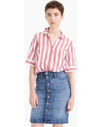 J.Crew - Tall Short-sleeve Button-up Shirt In Wide Stripe - Lyst