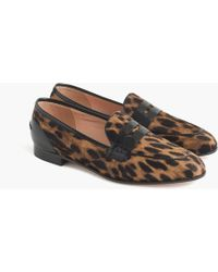 186166ca715 J.Crew - Academy Penny Loafers In Leopard Calf Hair - Lyst