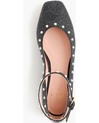 J.Crew - Poppy Ankle-strap Ballet Flats In Embellished Wool - Lyst