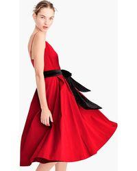 J.Crew - A-line Spaghetti-strap Dress With Velvet Tie - Lyst