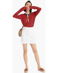 afb04732ae J.Crew Button-front White Denim Mini Skirt in White - Lyst