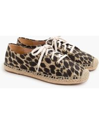 J.Crew - Lace-up Espadrilles In Leopard - Lyst