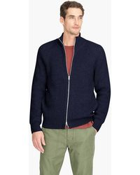 J.Crew - Knit Cotton Funnelneck Zip-up Sweater-jacket - Lyst