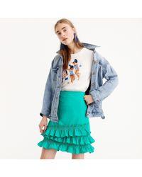 J.Crew - Ruffle Skirt In Cotton-poplin - Lyst