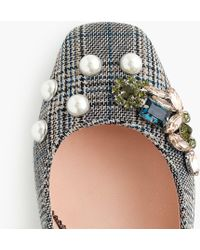 J.Crew - Block-heel Pumps In Embellished Plaid - Lyst