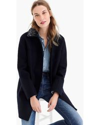 J.Crew - Collection Wool Melton Coat With Embellished Collar - Lyst