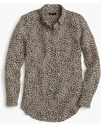 857492be58df7f J.Crew Collection Silk Twill Button-up In Roaming Tiger Print in ...