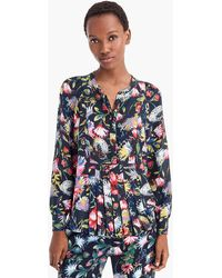 985e58a3406 Lyst - J.Crew Silk Pleated Popover In Floral Print in Yellow