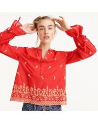 8b3721fad2f Lyst - J.Crew Petite Embroidered Floral Popover Shirt in White