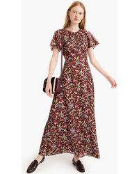J.Crew - Point Sur Flutter-sleeve Maxi Dress In Menagerie Print - Lyst