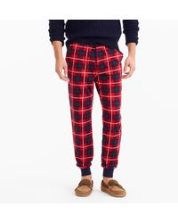 J.Crew - Flannel Lounge Pant In Red Check - Lyst
