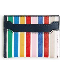 J.Crew - Leather Card Case In Rainbow Wide Stripe - Lyst